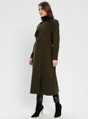 Khaki - Fully Lined - Point Collar - Puffer Jackets
