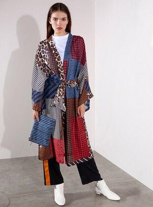 Patchwork Desenli Kimono - Karışık Renkli - Akel Ürün Resmi