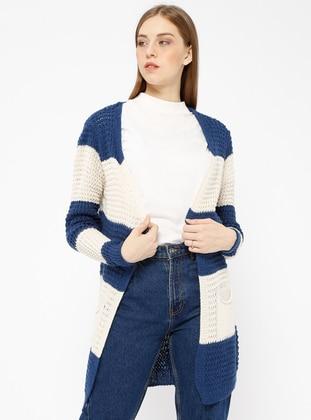 Navy Blue - Stripe - Acrylic -  - Cardigan