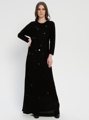 Black - Crew neck - Fully Lined - Acrylic - Dresses
