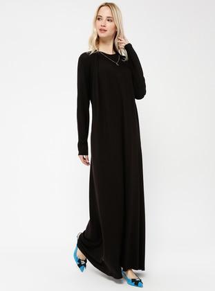 Black - Crew neck - Dresses