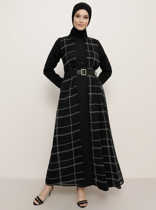 Black - Stripe - Point Collar - Fully Lined - Chiffon - Dress