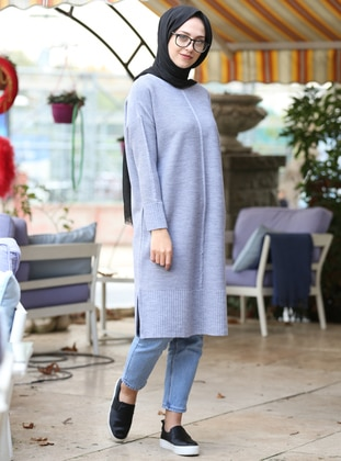 Gray - Crew neck -  - Tunic - İnşirah