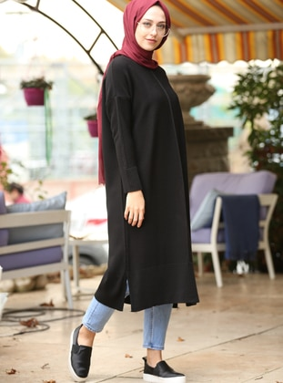 Black - Crew neck -  - Tunic - İnşirah