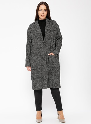 Gray - Multi - Unlined - Shawl Collar - Wool Blend - Cotton - Coat