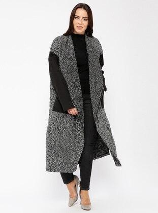 Gray - Multi - Unlined - Shawl Collar - Wool Blend - Cotton - Topcoat