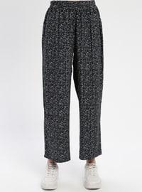 Black - White - Viscose - Pants