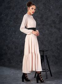 Beige - Crew neck - Fully Lined - Dresses
