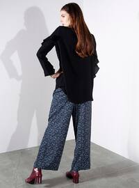 Black - Multi - Viscose - Pants