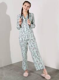 Green - Crew neck - Floral - Viscose - Pyjama