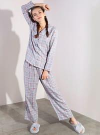 Gray - Plaid - Viscose - Pyjama