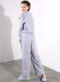 Gray - Plaid - Viscose - Pyjama