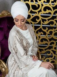 Gold - Cream - Multi - Unlined - V neck Collar - Gold - Cream - Unlined - Abaya