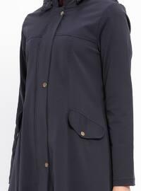 Navy Blue - Fully Lined - Crew neck - Acrylic - Topcoat