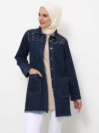 Navy Blue - Fully Lined - Point Collar - Cotton - Jacket