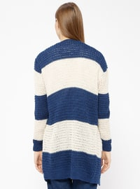 Navy Blue - Stripe - Acrylic -  - Cardigan