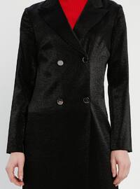 Black - Unlined - Shawl Collar - Cotton - Jacket
