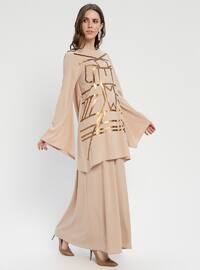 Beige - Gold - Crew neck - Tunic