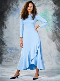 Baby Blue - Crew neck - Unlined - Dresses
