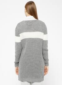Gray - Stripe - Acrylic -  - Tunic