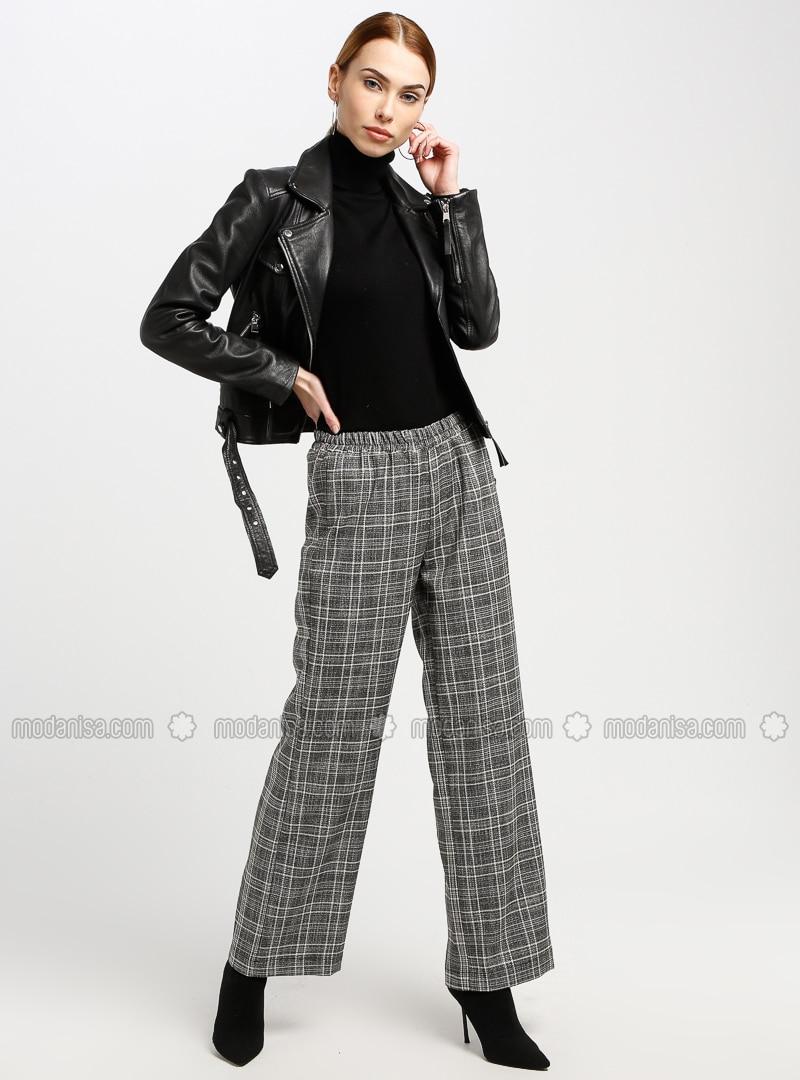 Gray - Plaid - Pants