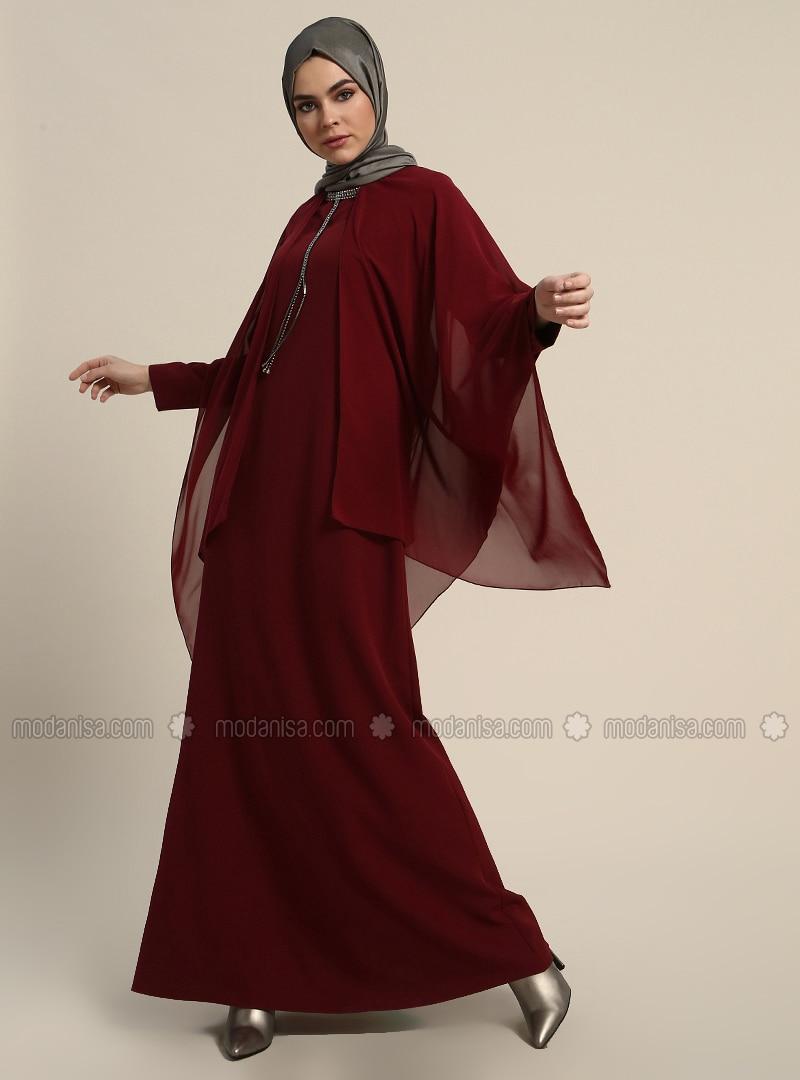 91a4af7149 Maroon - Unlined - Crew neck - Muslim Evening Dress. Fotoğrafı büyütmek  için tıklayın