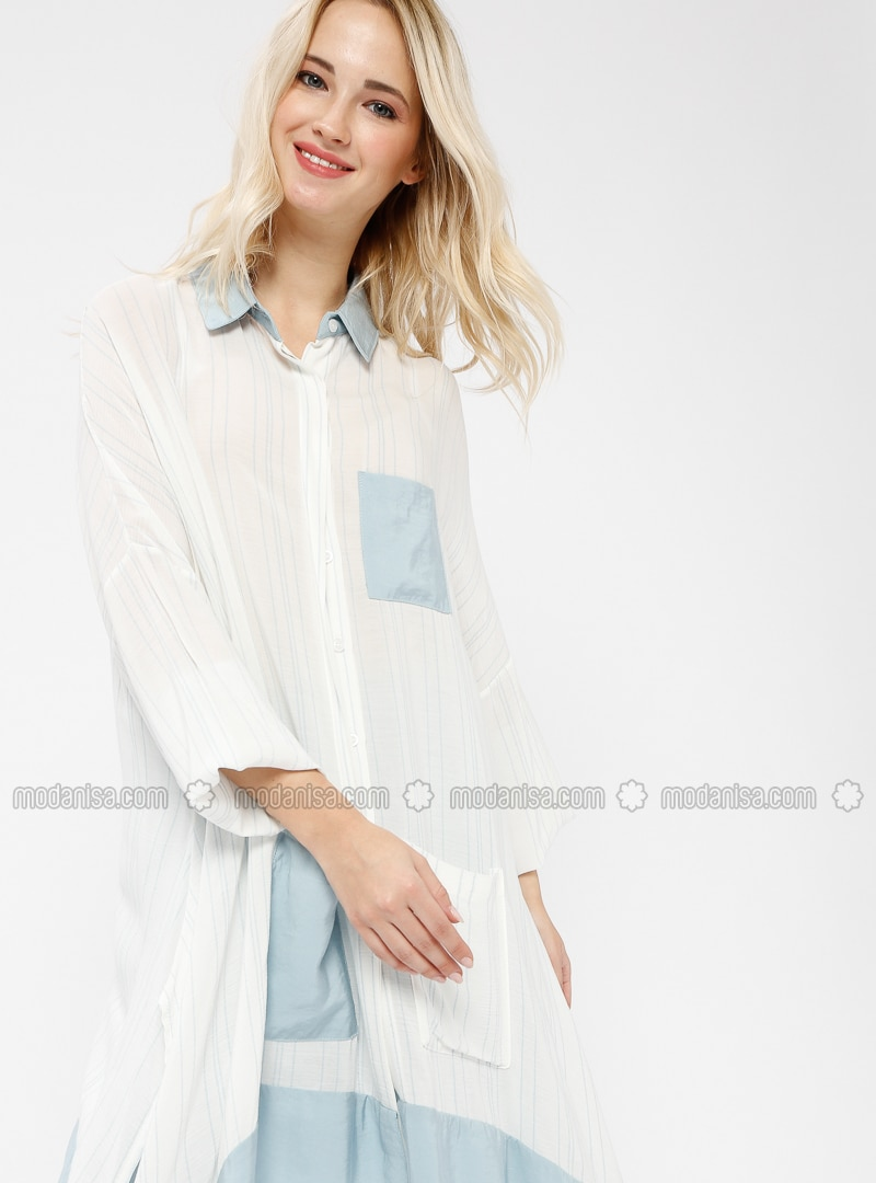 Blue - White - Ecru - Point Collar - Viscose - Tunic