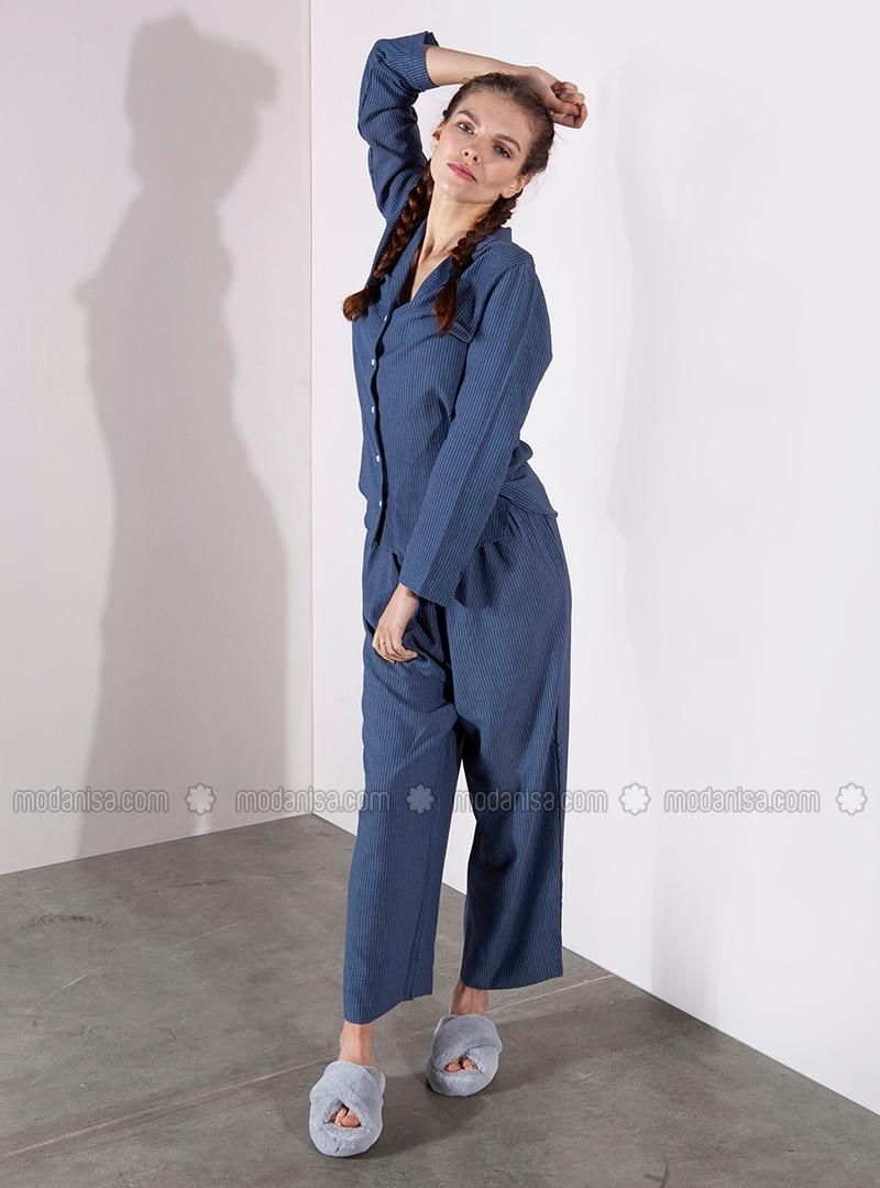 Blue - Stripe - Viscose - Pyjama