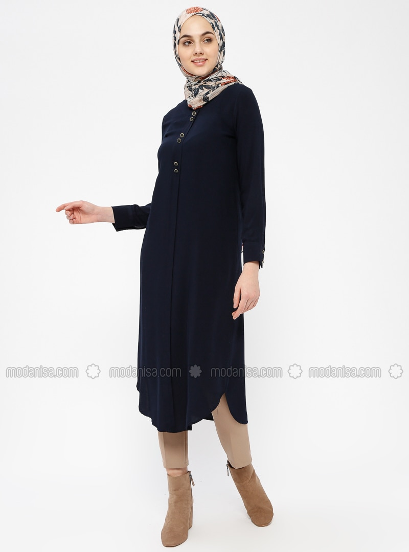 Navy Blue - Crew neck - Viscose - Tunic - ZENANE