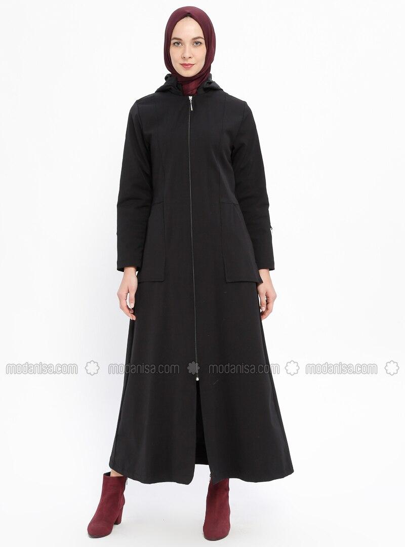 Black - Fully Lined - Crew neck - Acrylic - Trench Coat