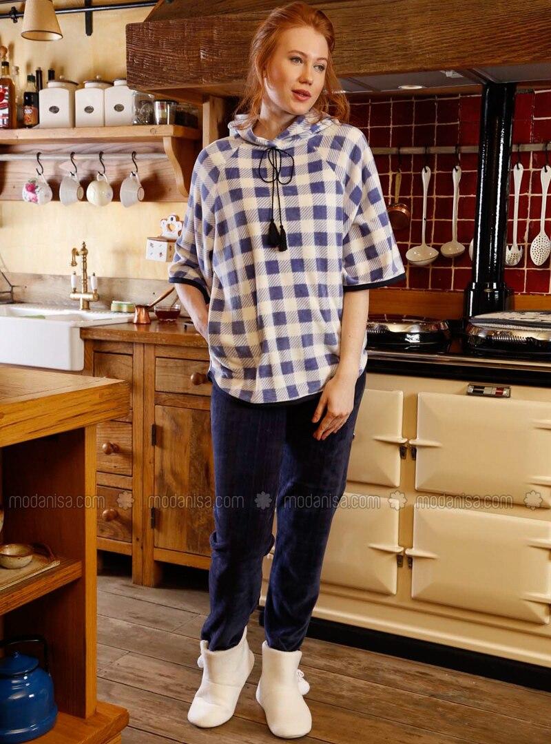 Navy Blue - Multi - Cotton - Pyjama