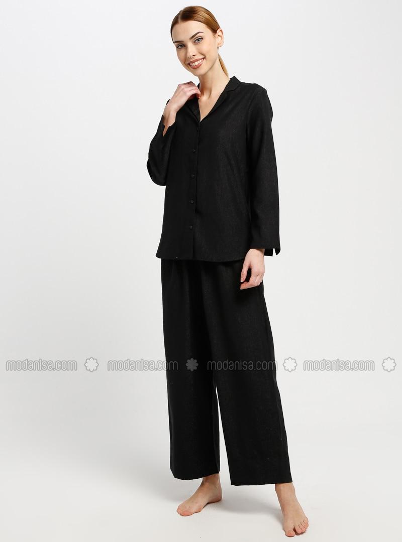 Black - V neck Collar - Pyjama