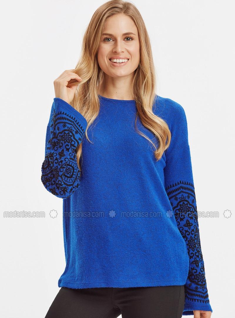 Blue - Crew neck - T-Shirt