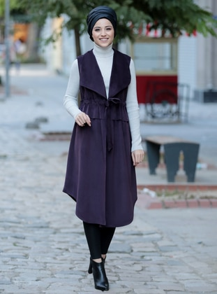 Plum - Fully Lined - Shawl Collar - Vest