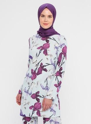 Blue - Multi - Floral - Crew neck - Viscose - Tunic