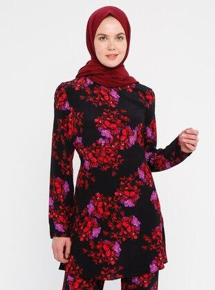 Black - Multi - Floral - Crew neck - Viscose - Tunic