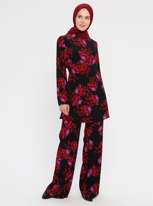 Black - Multi - Floral - Viscose - Pants