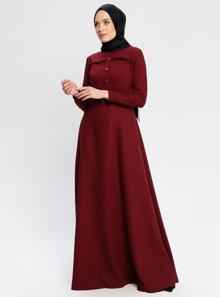 Maroon - Button Collar - Fully Lined - Dresses