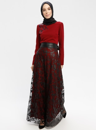 1dc00cedfe13 Maroon - Fully Lined - Crew neck - Muslim Evening Dress