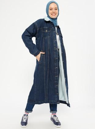 Navy Blue - Fully Lined - Point Collar - Denim - Topcoat