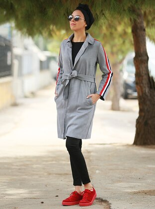 Gray - Unlined - Trench Coat