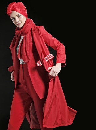 Red - Fully Lined - Trench Coat