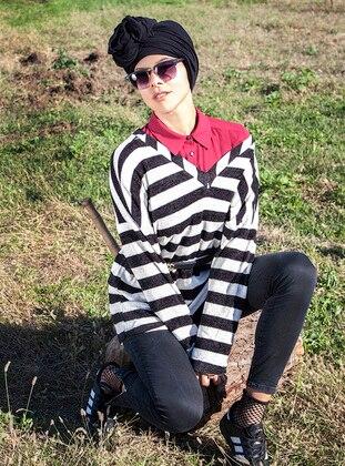 Black - Stripe - V neck Collar - Tunic