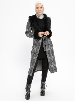 Gray - Smoke-coloured - Multi - Unlined - V neck Collar - Topcoat