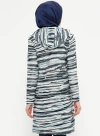 Blue - Gray - Multi - Cotton - Tunic