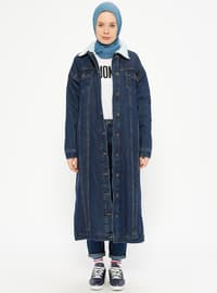 Navy Blue - Fully Lined - Point Collar - Denim - Topcoat