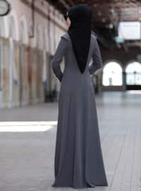 Gray - Crew neck - Unlined - Dresses