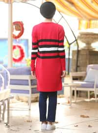 Red - Stripe - Crew neck -  - Tunic