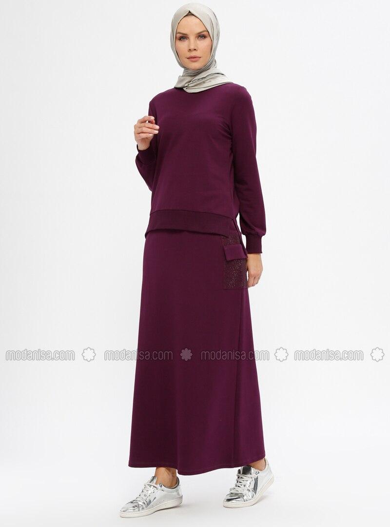 Plum - Unlined - Cotton - Suit