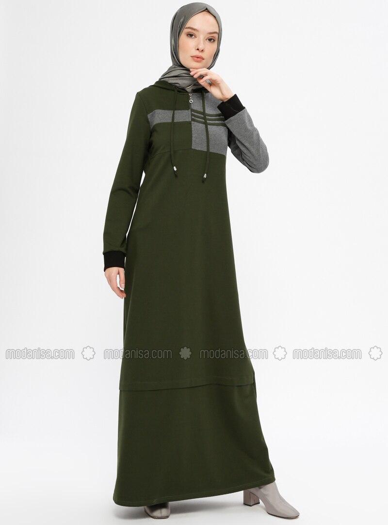 Khaki   Unlined   Cotton   Dresses by Modanisa